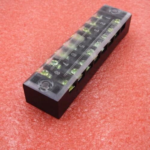 3 Pcs 600V 15A 8 Bit Dual Row Covered Barrier Screw Terminal Barrier Strip Block
