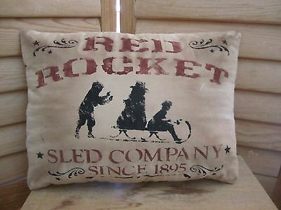 Primitive Stenciled Pillow - Red Rocket Sled company - Winter - Christmas