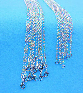 Wholesale-10PCS-Fashion-Jewelry-Rolo-925-Sterling-Silver-Plated-Necklaces-Chain