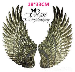 ECUSSON-XXL-SEQUIN-DORE-THERMOCOLLANT-PAIRE-D-039-AILES-ANGES-ANGEL18X33-cm-DIY-NEW