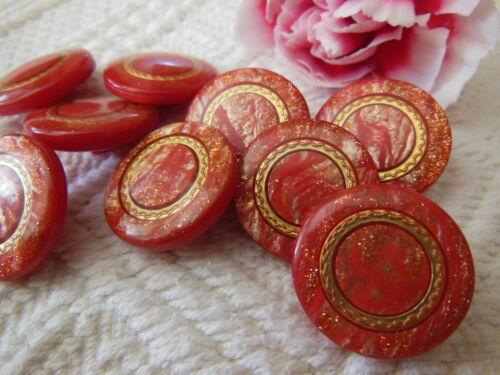 lot 5 boutons vintage rouge inclusion doré à pied diamètre 2,1 cm  ref 2446