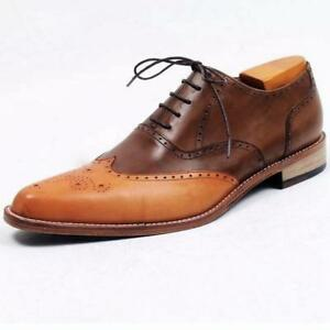 f5edeb53c2c0b1 Details about Handmade Men's Oxford Brogue Wingtip Tan & Brown Leather  Formal Classic Shoes