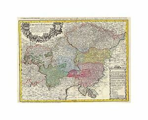 Map-Antique-Homann-Heirs-Austria-Bohemia-Czech-Republic-Art-Canvas-Print