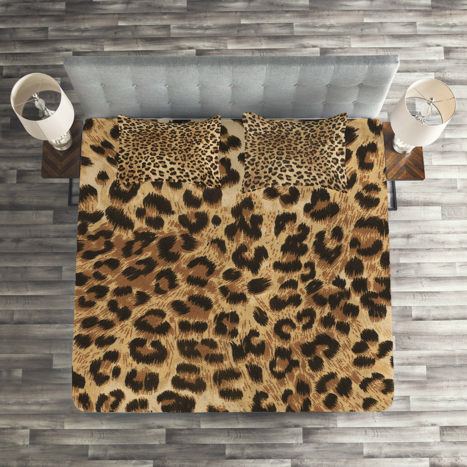 Leopard Print Quilted Coverlet & Pillow Shams Set, Wild Animal Skin Print