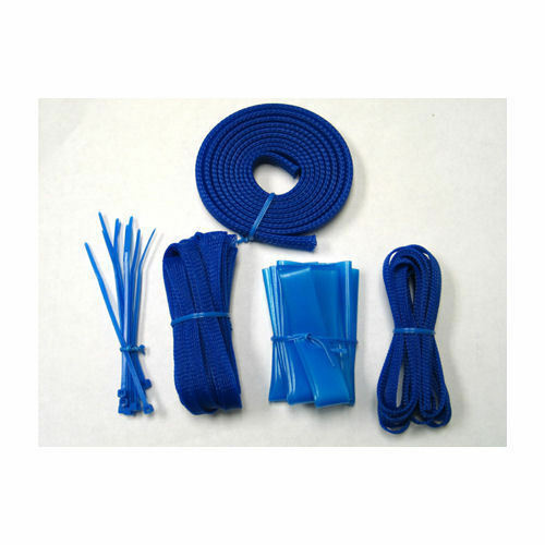 OKGear OK430UB Blue Wire Sleeving Cable Management Pack w/ UV BLUE ZIP Ties