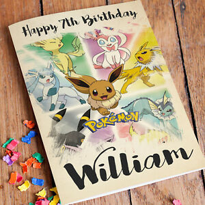 Image Is Loading POKEMON Personalised Birthday Card FREE Shipping Pikachu Son