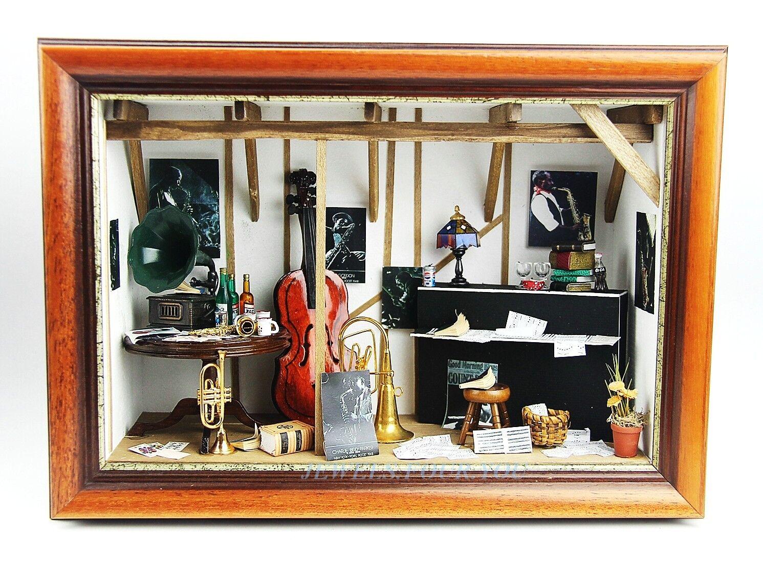 Raro Y Único Jazz Música Habitación Parosso Diorama piano saxofón contrabajo gramófono