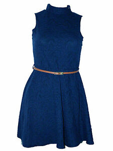 LADIES-NAVY-DRESS-WITH-EMBOSSED-PRINT-AND-BELT-SIZE-6-8-10-12-14-16-18-20