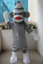 Professional New Grey Sock Monkey Mascot Costume Fancy Dress Adult Size