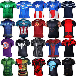 Marvel-DC-Comics-Superheroe-Compresion-Ciclismo-Camiseta-Deporte-Gimnasio-Jersey