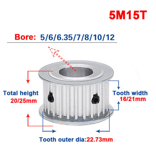 HTD 5M-15T-16//21W 5//6//6.35//7//8//10//12mm Bore Pitch 5mm Timing Belt Drive Pulley