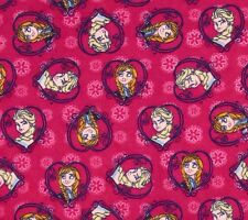 Elsa and Anna Disney Frozen Sisters Framed Flannel Fabric by the Fat Quarter