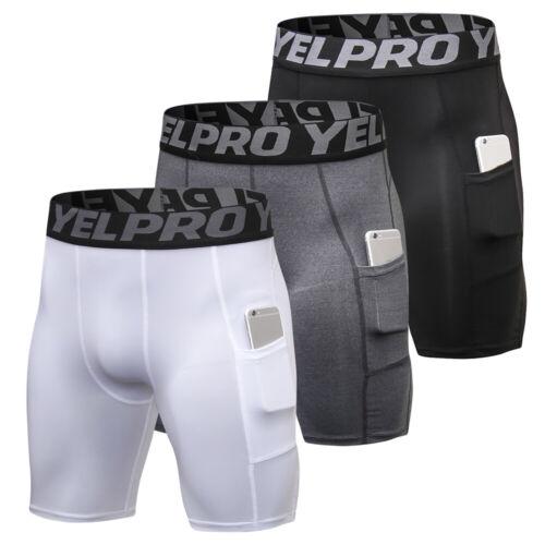 3 Pack Men Compression Shorts Active Workout Underwear with Pocket Z1T3