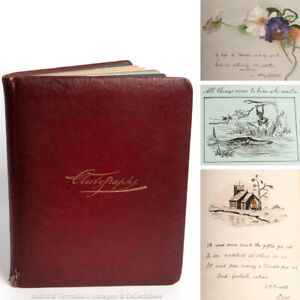 Irish-Victorian-Autograph-Album-Drawings-Poems-Edwardian-Sketches-Book-Messages