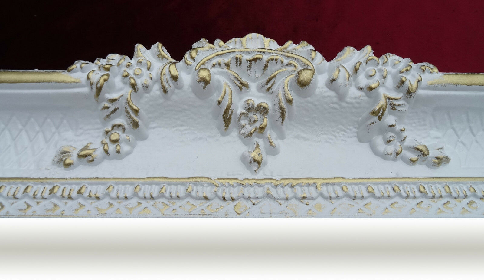 Wall mirror white gold 96x57 antique baroque shabby chic for White and gold mirror