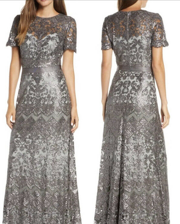 Tadashi Womens Mesh Sequined Evening Formal Dress Gown Size 6