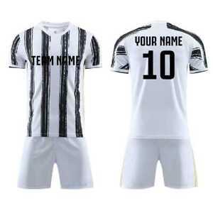 2021 Custom Personalized White Black Stripe Custom Football Soccer ...