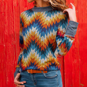 Women-039-s-Fashion-Geometric-Printed-Round-Neck-Long-Sleeve-Top-Casual-Slim-Blouse