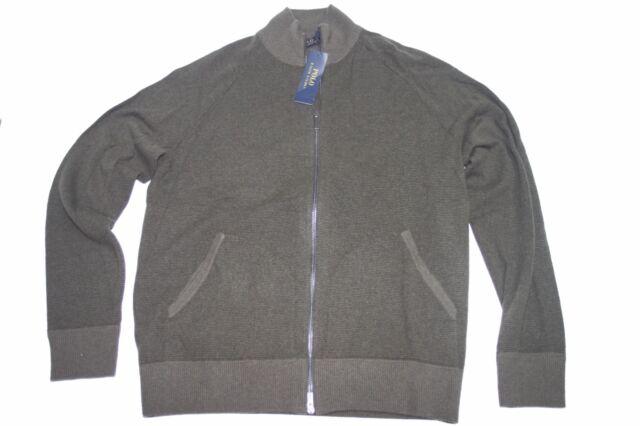 0a6610af262 Polo Ralph Lauren 710560504003 Olive Merino Wool Full Zip Mock Neck Sweater  Sz M