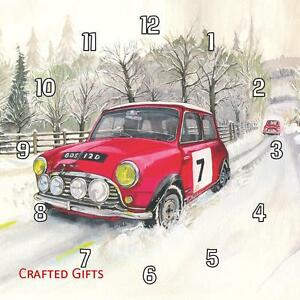 """Collection Ici Mini Rally Voiture Dans La Neige Par Sue Podbery Horloge Murale 8""""/195 Mm - 11""""/285 Mm-afficher Le Titre D'origine"""