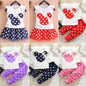 2dd5aca2e59a Kids Baby Girls Cartoon Minnie T-shirts Tops Pants Dress Tracksuit ...