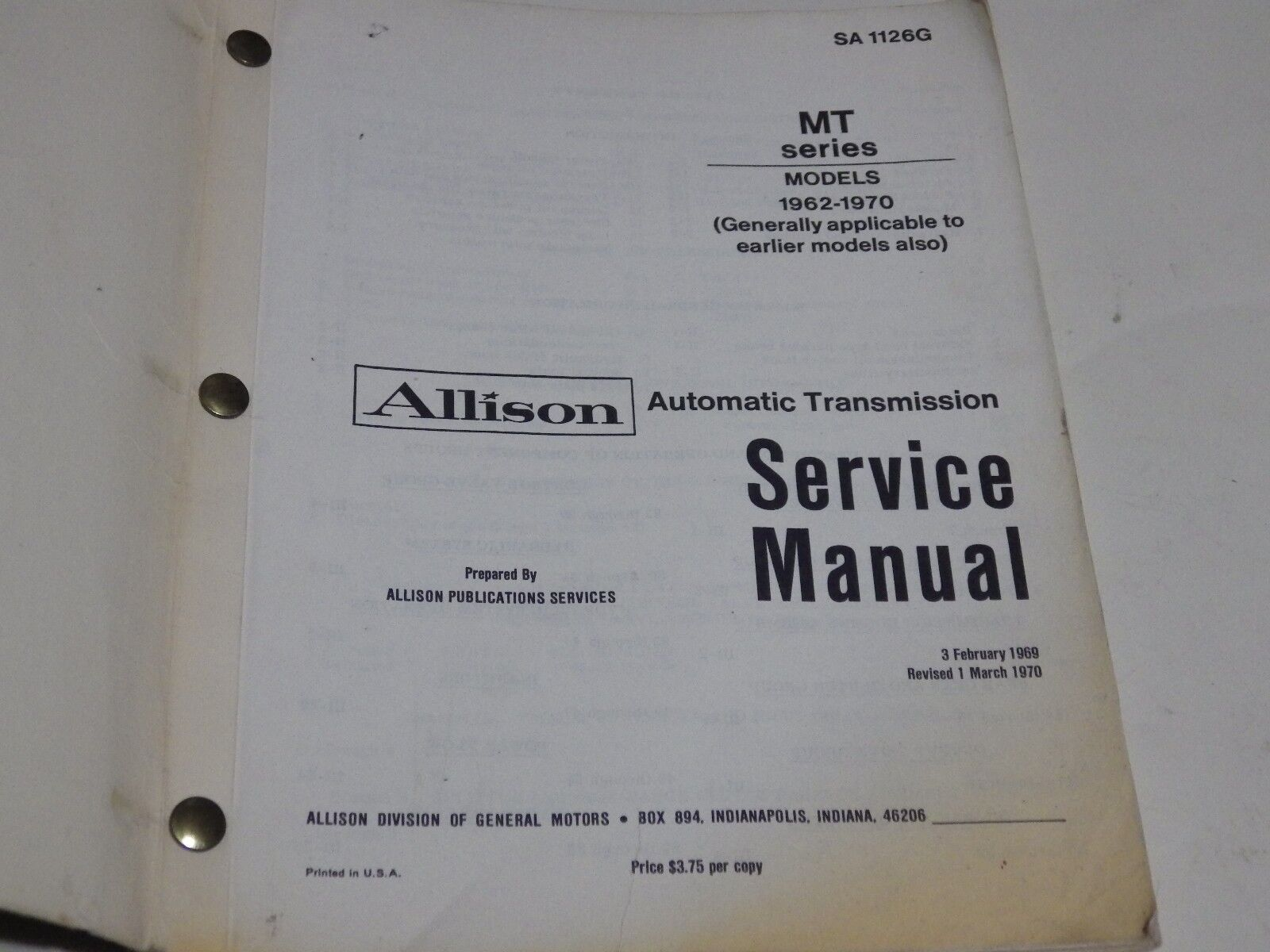 Allison Autmoatic Service Manuals Inncom E528 Wiring Diagram Room Array Mt Series Models Automatic Transmission Manual 1962 Rh Ebay Com