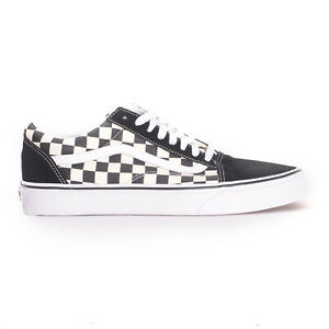 Vans-Old-Skool-Primary-Check-Black-White-Men-039-s-Skate-Shoes