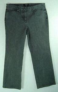 PINSTRIPED-Denim-Low-Rise-Boot-Cut-TALBOTS-PETITES-Gray-Jeans-Pants-10P