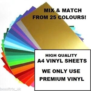 10X-Gloss-Self-Adhesive-Vinyl-A4-SHEETS-SILHOUETTE-CAMEO-CRAFT-ROBO-Sticky
