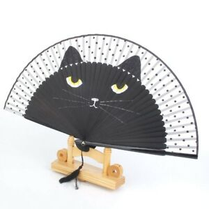 Cat-Pattern-Foldable-Fan-Silk-Bamboo-Case-Classic-Style-Cartoon-Handheld-Fan-1Pc