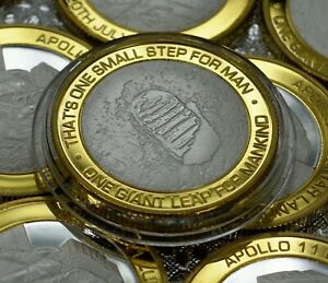 APOLLO-11-LUNAR-MOON-LANDINGS-Dual-Metal-Silver-amp-24ct-Gold-Commemorative-1969