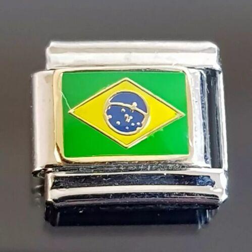 Bandera de Brasil italiano pulsera con dijes de enlace encantos brasileño
