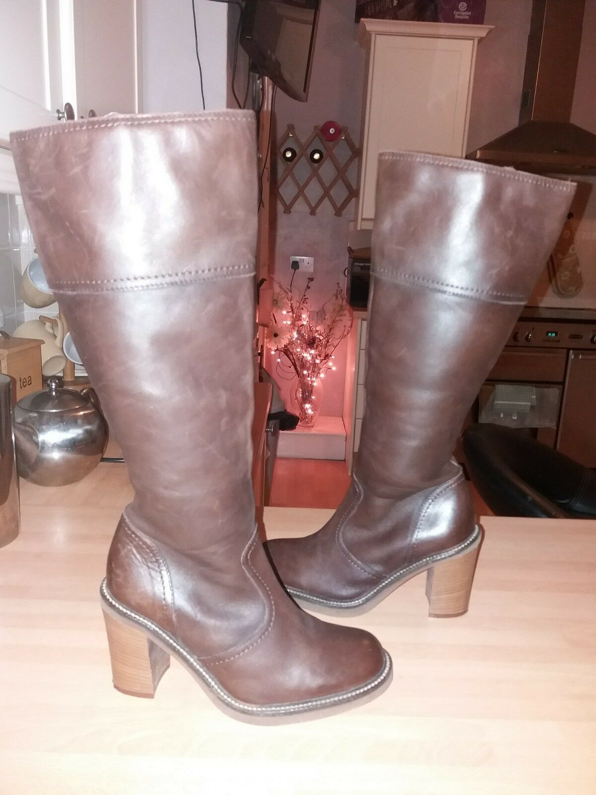 GORGEOUS NEXT dark Brown Leather Knee High Boots FAB CONDITION Size 3.5 winter