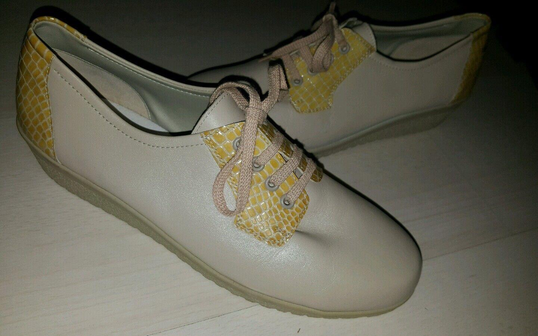 Meisi by Ara Comfort leder Schuhe Damen Fussbett gr.7 1/5 neu creme weite G