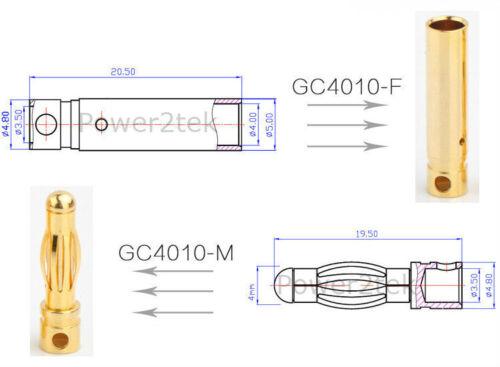 5-pair Amass GC4010 Premium 4mm Bullet Connectors Male//Female Banana Head Plug