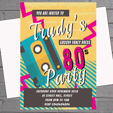 10 cassette tape 80 s theme birthday party invitations 30th 40th
