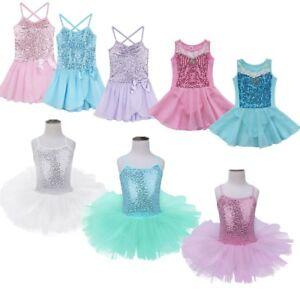 Image is loading Girl-Kids-Ballet-Sequined-Leotard-Dress-Dance-Tutu- 540f41e97fbc