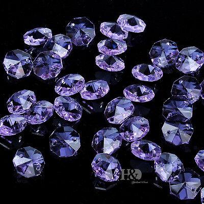 100PCS 14MM Purple Crystal Octagon Beads Chandelier Lamp Parts Wedding Decor H79