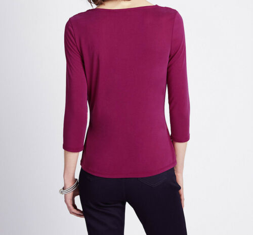 Ex M/&S Ladies Per Una Modal Top Thin Blouse 3//4 Sleeve Women/'s Plum Purple Size
