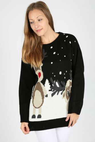 Womens Mens Knitted Christmas Two Rudolph Reindeer Jumper Snow Festive Season