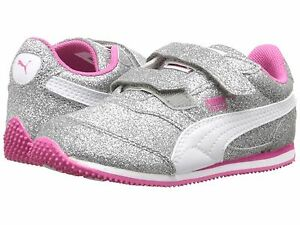 7b6a96eb633 PUMA Sneakers Silver Sparkle Glitz Glam V Ps Sneaker Little Girls ...