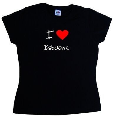 I Love Heart Baboons Ladies T-Shirt