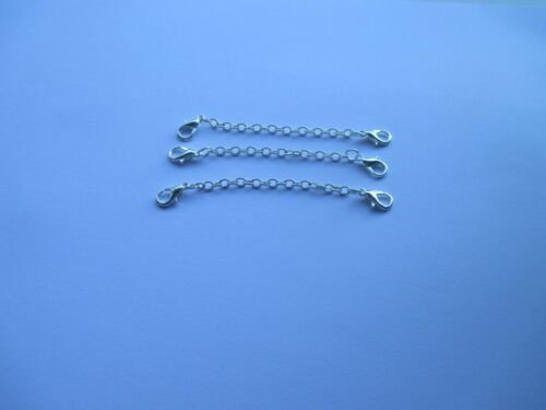 UK 3 Twin Clasp Silver Extension Necklace Bracelet Jewellery Extender Link Chain
