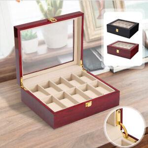 10-grilles-en-bois-Boite-Afficher-Boite-de-verre-bijoux-de-stockage-Organisateur-Holder