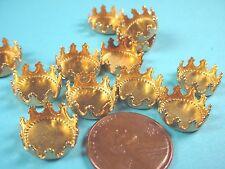 Brass Round Crown Edge Bezel Cups 11mm -18 Pieces