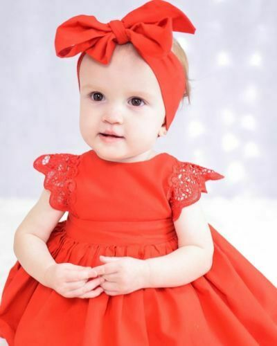 New Arriavl Christmas Ruffle Red Lace Romper Dress Baby Girls Sister Princess