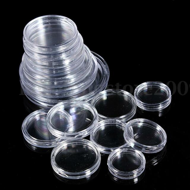 10Pcs Clear Coin Capsules Cases Round Plastic Storage Ring Boxes Holder 17Sizes