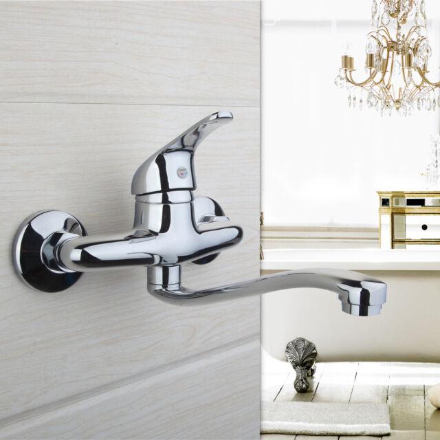 Bathroom Chrome Kitchen Sink Mixer Taps Wall Mount Basin Laundry Faucet
