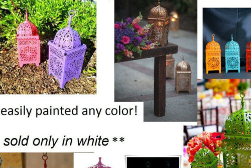 12 lot white Moroccan scrollwork Lantern Candle holder wedding table centerpiece