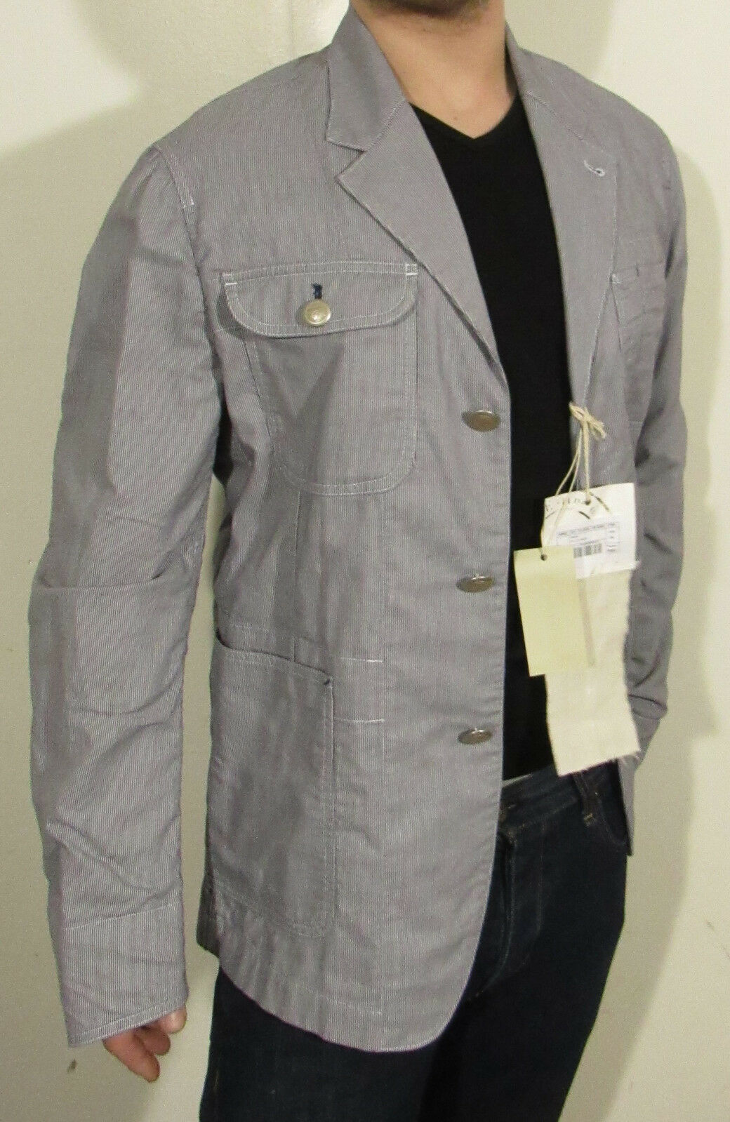 NWT Functioning Cuff 44R Unstructured Gas Jeans Casual Blazer White bluee Working